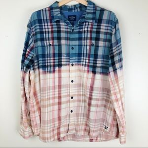 American Eagle Plaid Flannel Bleach Dip Dyed Shirt